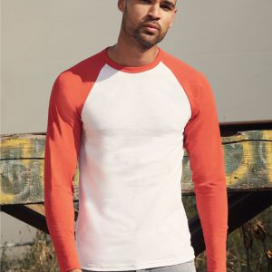 Fruit Of The Loom Men's Valueweight Long Sleeve Baseball T-Shirt