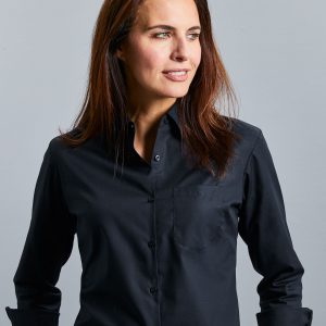 Russell Collection Ladies' Long Sleeve Pure Cotton Easy Care Poplin Shirt
