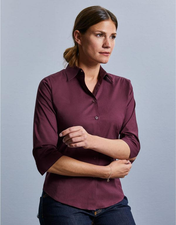 Russell Collection Ladies' 3/4 Sleeve Easy Care Fitted Shirt