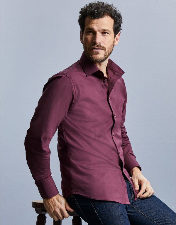 Russell Collection Men's Long Sleeve Easy Care Fitted Shirt