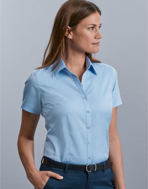 Russell Collection Ladies' Short Sleeve Herringbone Shirt