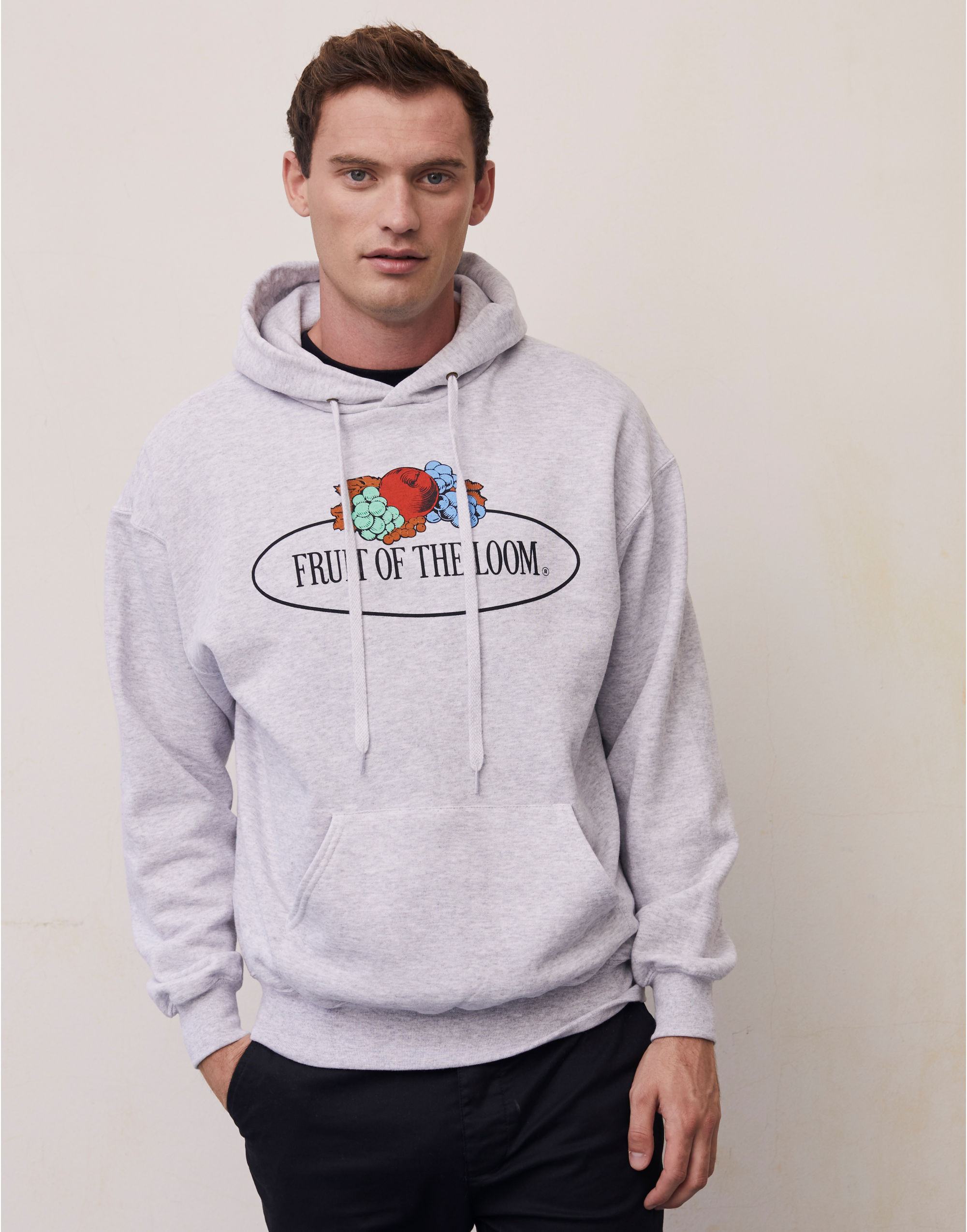 Fruit Of The Loom Retail Vintage Hooded Sweat with Large Logo