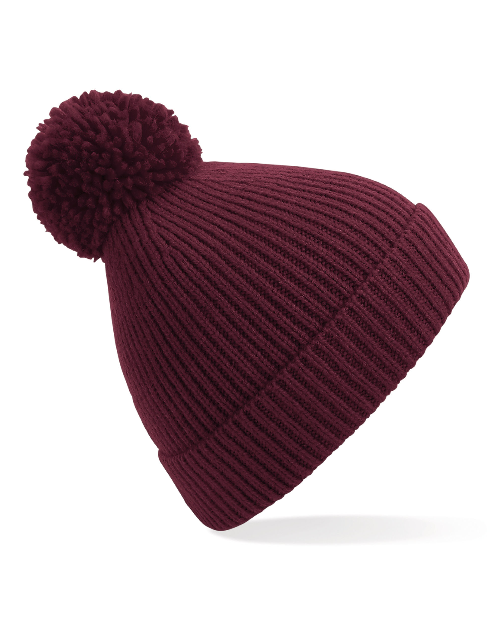 Beechfield  Engineered Knit Ribbed Pom Pom Beanie