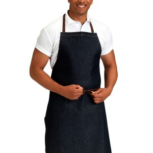 Dennys Denim Bib Apron with Contrast Stitching
