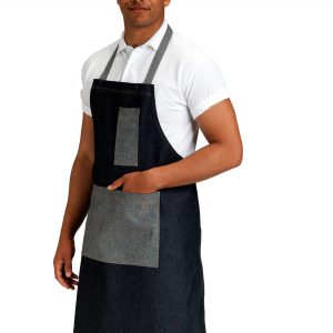 Dennys Denim Bib Apron with Contrasting Pocket