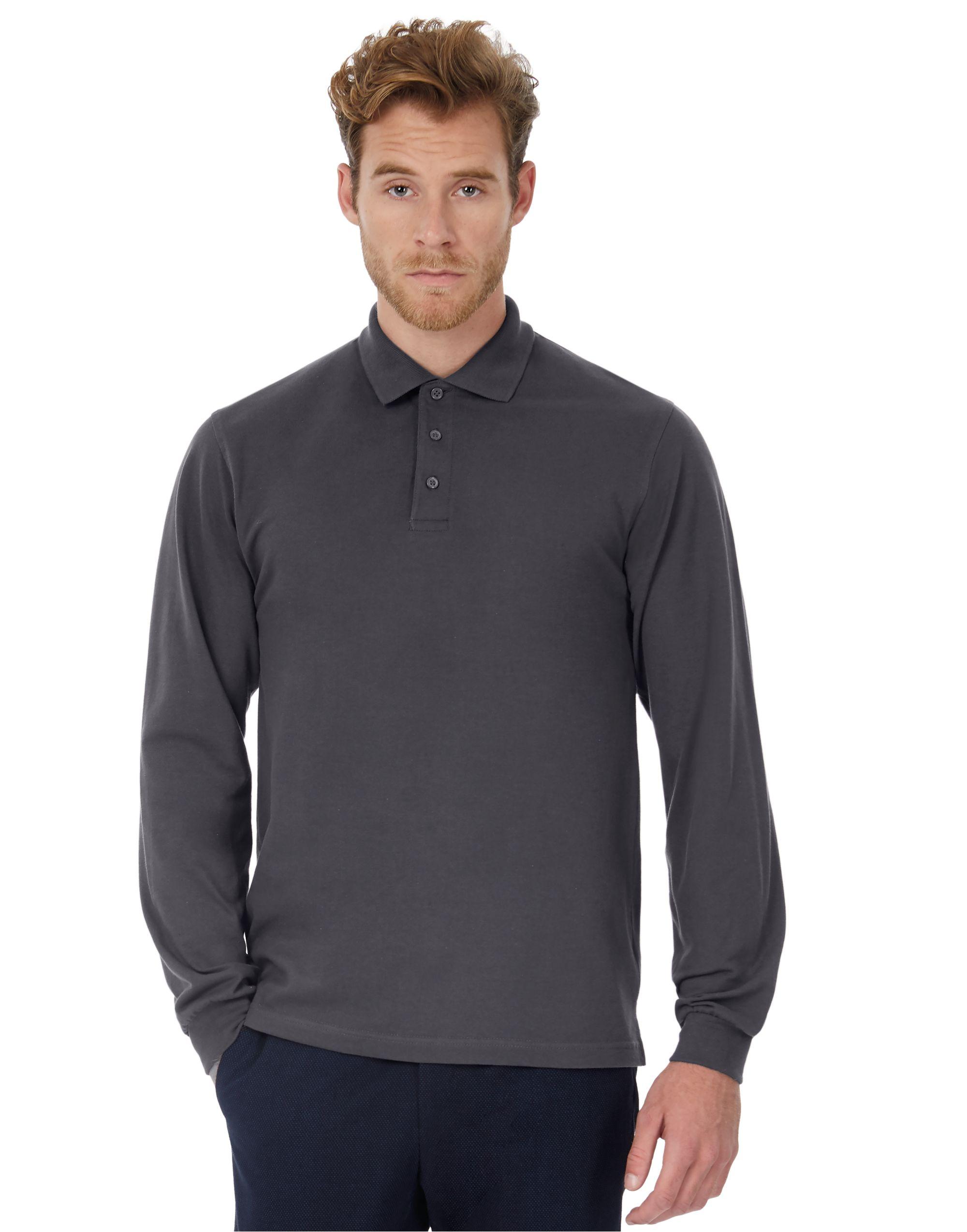 B&C Heavymill Long Sleeved Polo Shirt