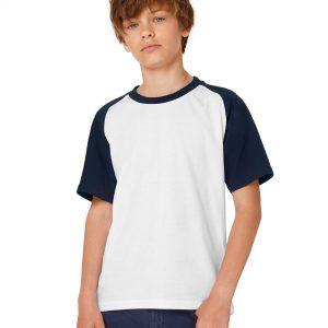 B&C Kids Short Sleeve Baseball Tee