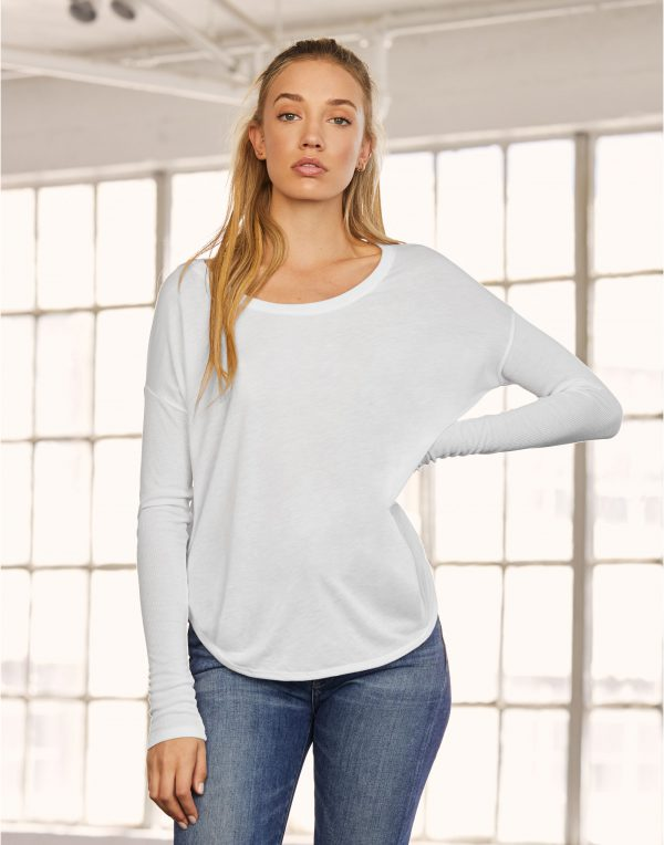 Bella Women's Flowy Long Sleeve Tee 2 x 1 Sleeve