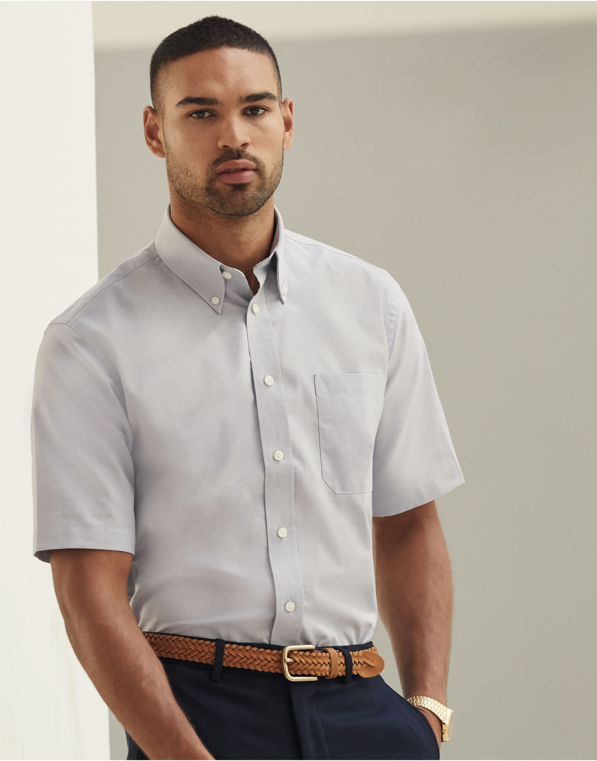 Fruit Of The Loom Men's Short Sleeve Oxford Shirt