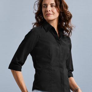 Russell Collection Ladies' 3/4 Sleeve Polycotton Easy Care Fitted Poplin Shirt