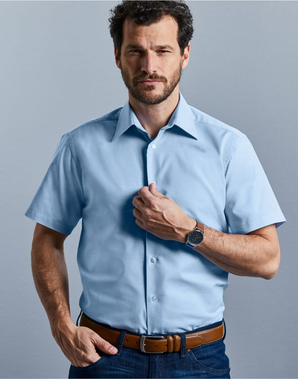 Russell Collection Men's Short Sleeve Easy Care Tailored Oxford Shirt