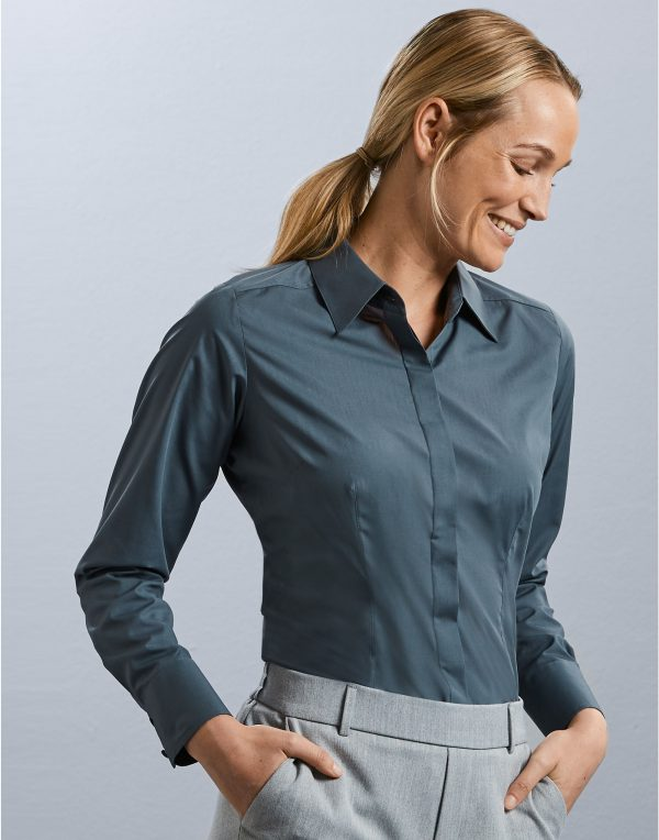 Russell Collection Ladies' Long Sleeve Polycotton Easy Care Fitted Poplin Shirt