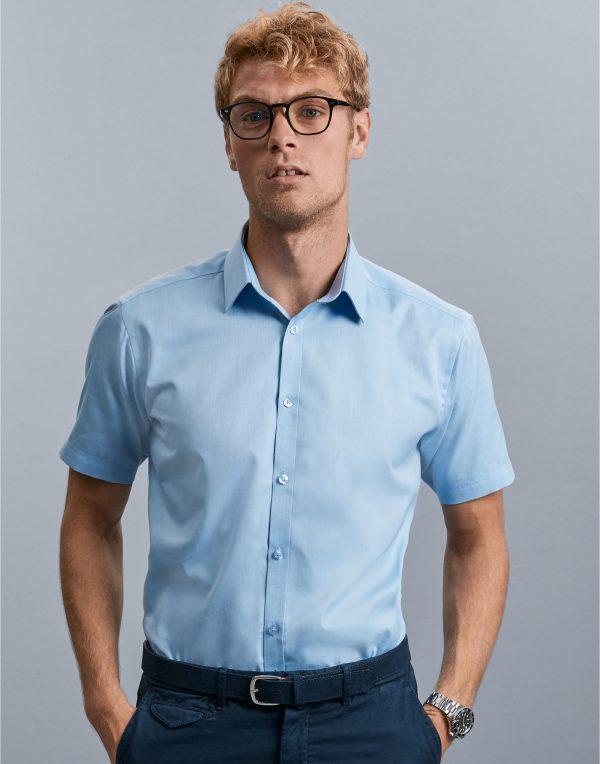 Russell Collection Men's Short Sleeve Herringbone Shirt
