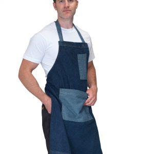 Dennys Washed Denim Bib Apron with Contrast Pockets